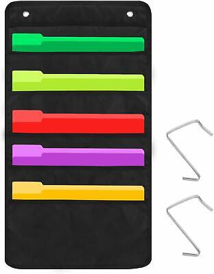 Sinzip Heavy Duty 5 Pocket Door Hanging File Organizer Black Wall Storage