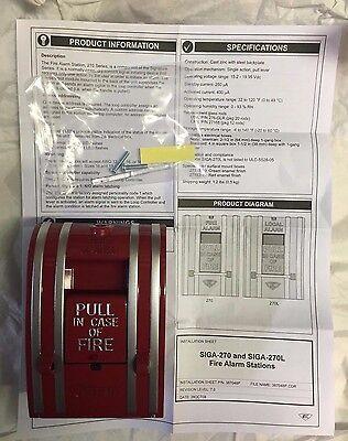 New Edwards Siga-270 Fire Alarm Manual Pull Station-single Action