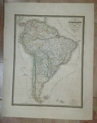 SOUTH AMERICA 1837 ANDRIVEAU-GOUJON LARGE ANTIQUE MAP 19TH CENTURY