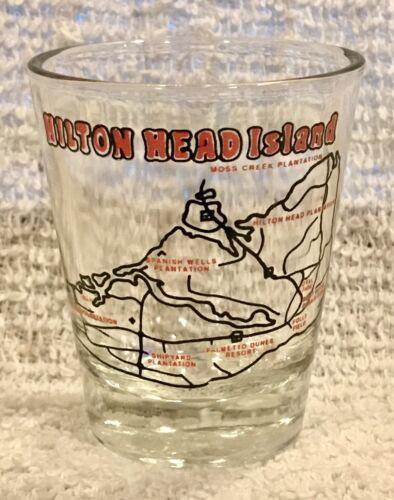 Hilton Head Island SC Souvenir Shot Glass Island Map / Outline Landmarks