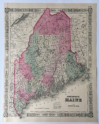 Vintage ca 1864 Original Johnson and Ward Johnson's Hand-colored Map of Maine