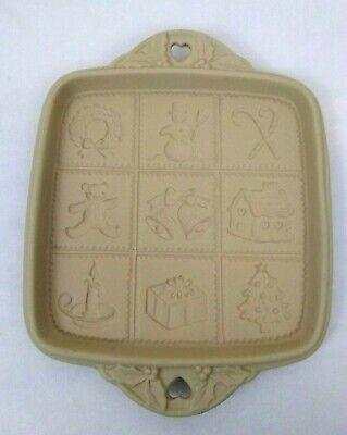 "1992 Christmas Shortbread Mold Brown Bag Cookie Art Hill Design 8"" x 8"" Vintage"