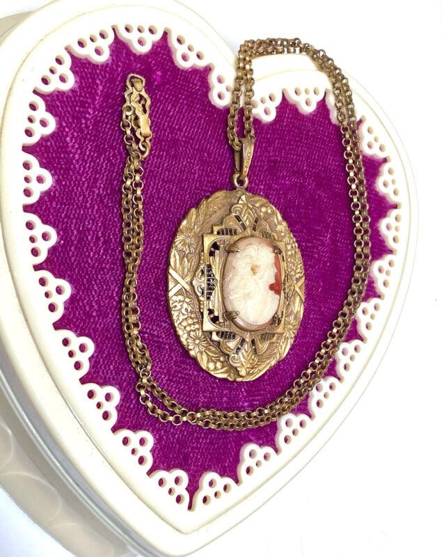 Wonderful Antique/Vintage Fancy, Ornate Faux Cameo Necklace