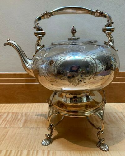 gorgeous & unusual vintage silverplate engraved teapot on hinged stand