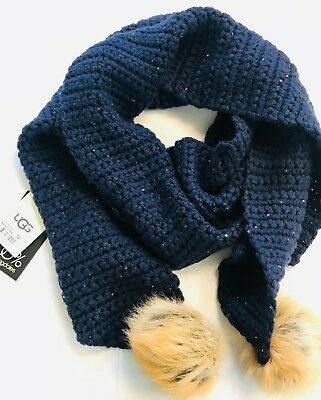 UGG $130 NWT Knit Scarf With Pom Poms Indigo Authentic Long Wide Super-Ugg-Soft for sale  Pittsburgh