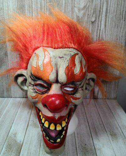 Adult Halloween Fire Clown Mask Latex Horror Orange Hair Flame Eyes Scary