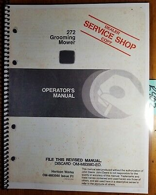 John Deere 272 Grooming Mower Sn 450001-525000 Owners Operators Manual 681