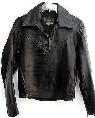 VTG 50'S 60'S..HIPPIE..BLACK..LEATHER..PULL OVER..MOTORCYCLE..JACKET..sz MEDIUM