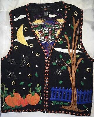 Hampshire Studio Halloween Knit Vest Top Petite Medium Scarecrow Bats Pumpkins