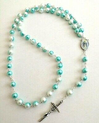 First Holy Communion ROSARY BEADS ADULT NECKLACE CROSS CRUCIFIX PEARL BLUE