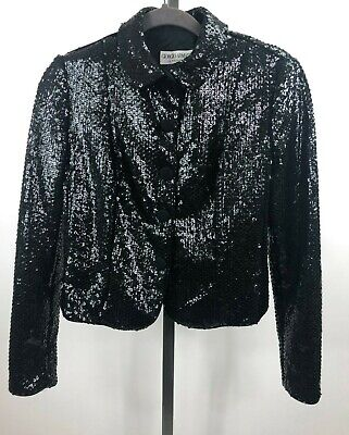 Vintage Giorgio Armani Women's Cropped Black Sequin Evening Jacket Size 6