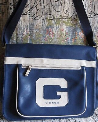 Vintage GUESS Book Bag/Purse/Shoulder Bag Vinyl Blue Old School Look G Guess