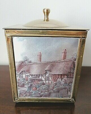 UNUSUAL VINTAGE WOODEN TEA CADDY - PICTURE FRONT HAMMERED BRASS PANELS TIN LINED
