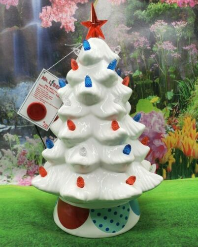 "NEW Mr. Liberty Patriotic July 4th Nostalgic Tree 12"" Red White Blue LED Lights"
