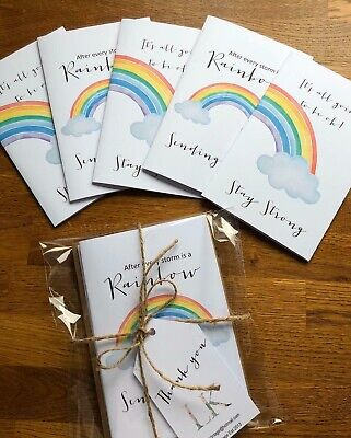 5 x Handmade Rainbow Cards & Envelope / Isolation / Thinking of you /Miss You