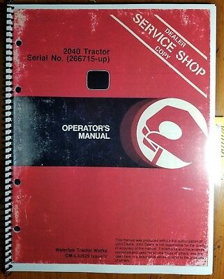 John Deere 2040 Tractor Sn 266715-349999 Owners Operators Manual Om-l33529 I7