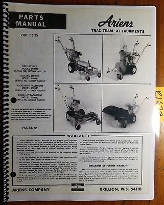 Ariens Trac-team Attachment Reel Rotary Mower Vacuum Brush Parts Manual Pm-14-72