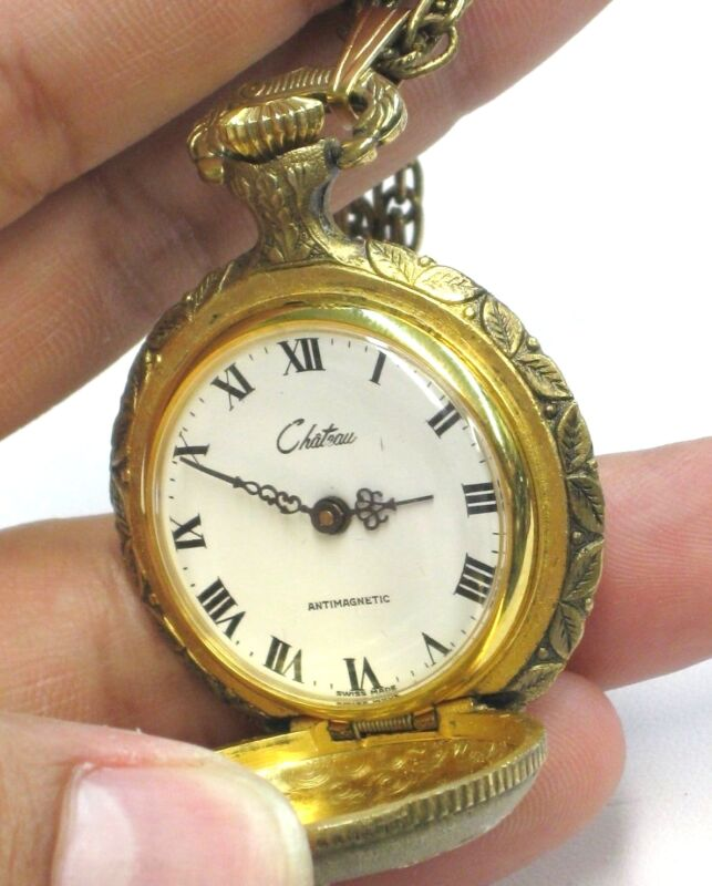 Vintage Art Deco Chateau Gold Intricate Pocket Watch Necklace