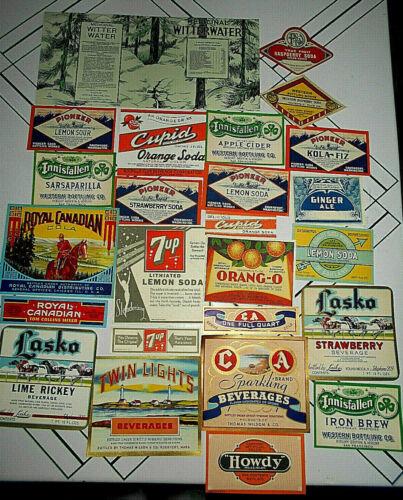 25~VTG ASSORTED PAPER SODA LABELS Orig Unused~7UP/CUPID/HOWDY/INNISFALLEN+++#1
