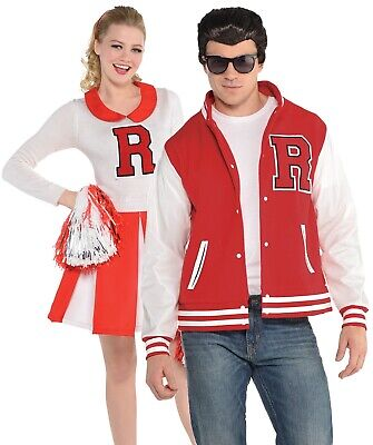 Mens AND Ladies Couples 1950s Cheerleader Jock Film Fancy Dress Costumes Outfits - Couple Movie Costumes