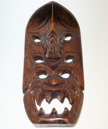 Old TRIBAL MASK PLAQUE Hand Carved Wood Art Sculpture Statue Figurine Vintage VG