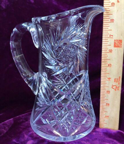 "RARE ANTIQUE AMERICAN BRILLIANT CUT GLASS 9"" PITCHER PINWHEEL STARS W/HOBNAIL"