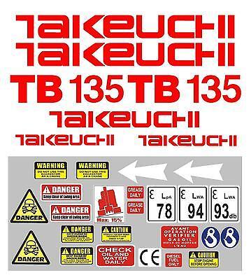 Decal Sticker Set For Takeuchi Tb135 Mini Digger Pelle Bagger Excavator