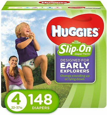 HUGGIES Little Movers Slip On Diaper Pants,Size 4   148ct