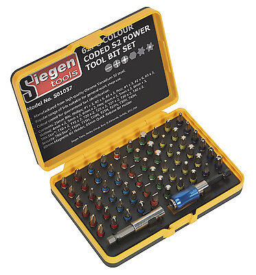 Sealey Power Tool Bit Set 62pc Colour Coded S2 S01037