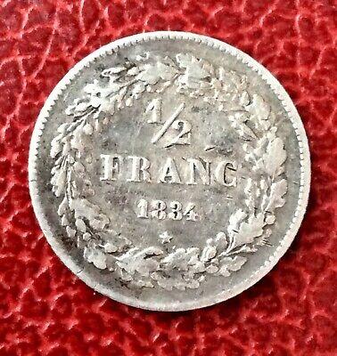 Belgique - Léopold Ier -  Rare monnaie de 1/2  Franc 1834 -
