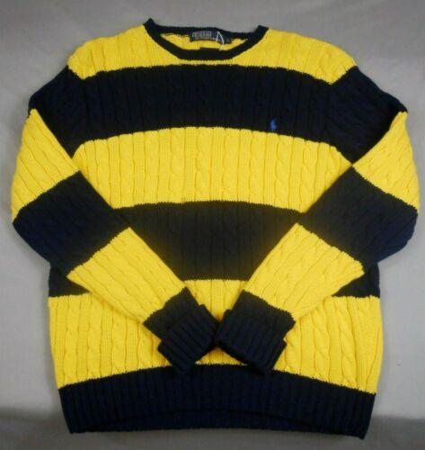 Vtg,Polo Ralph Lauren,Crew Neck,Cable Knit,Striped,Cotton Sweater Men