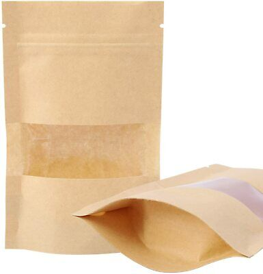 100 KRAFT PAPER STAND UP POUCHES BAGS WITH WINDOW 3.5x5.5
