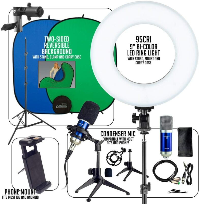 Smith-Victor Work From Home Kit Bi-Color Ring Light Tripod Mic Backdrop WFH900