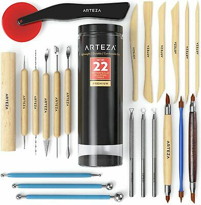 ARTEZA Pottery & Clay Sculpting Tools - Set of 22