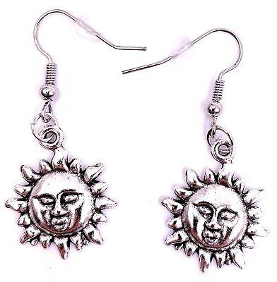 Sonnenschein Ohrringe (Sonne Mond Gesicht Sun Sonnenschein Ohrringe Ohrschmuck Anhänger Silber Metall)