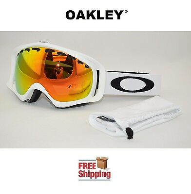 OAKLEY® CROWBAR® SNOW BOARD SKI GOGGLES MATTE WHITE W/ FIRE IRIDIUM MIRROR LENS
