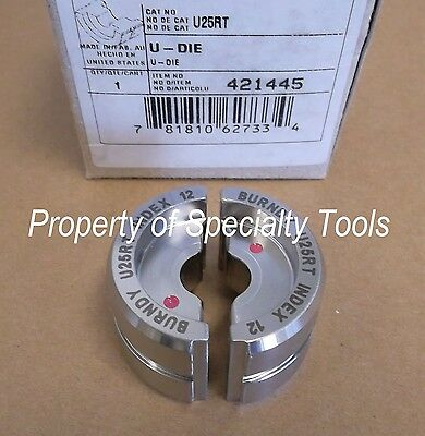 Burndy U25rt Stainless Crimper Crimping U Die Hydraulic 12 Ton Crimp 10 Cu New