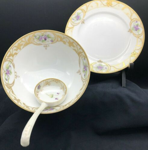 Nippon Moriage Hand Painted Violets Pattern Footed Bowl Plate Spoon Set
