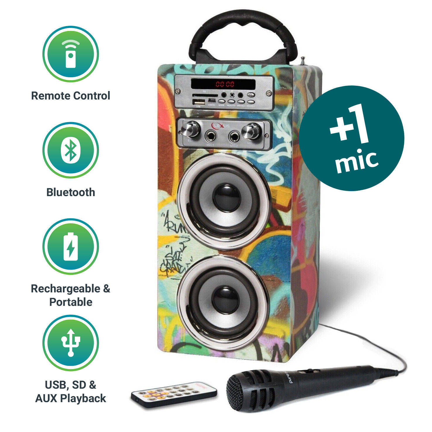 Kids Portable Karaoke Machine Bluetooth MP3 Speaker Mic FM Radio Pure Acoustics