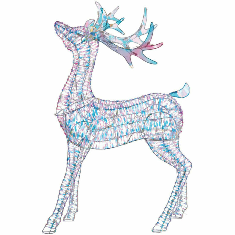 Noma 4 Ft Pre Lit LED Light Up Iridescent Deer Outdoor Holiday Lawn Decoration
