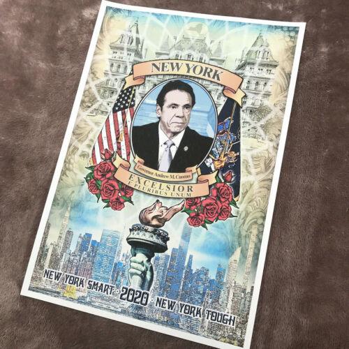 Gov. Andrew Cuomo Poster Art Print - NY SMART NEW YORK TOUGH - Signed B.Woodruff