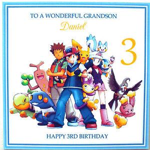 Personalised Handmade Pokemon Birthday Card - Son, Grandson, Nephew etc