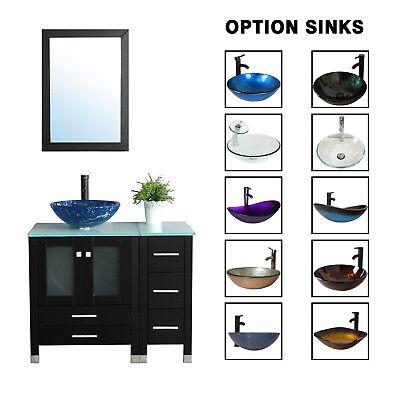 36'' Black Bathroom Vanity Cabinet Top Tempered Glass Vessel Sink Faucet Mirror