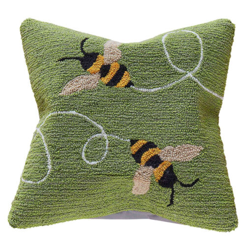 """PILLOWS - """"BUSY BEES"""" HAND TUFTED INDOOR OUTDOOR PILLOW - 18"""" SQUARE"""