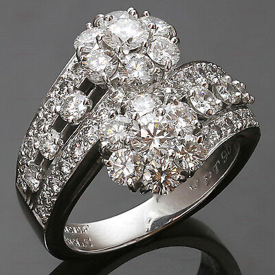 Fabulous VAN CLEEF & ARPELS Snowflake Diamond Platinum Double Fleur Ring $42,300