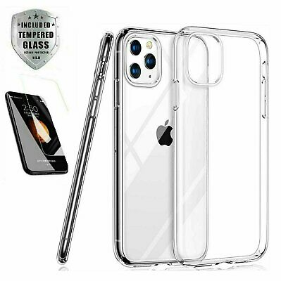 Case + Screen Protector iPhone 11 Pro Max XR Case 6 7 8 Plus XS X SE Cover Clear Cases, Covers & Skins