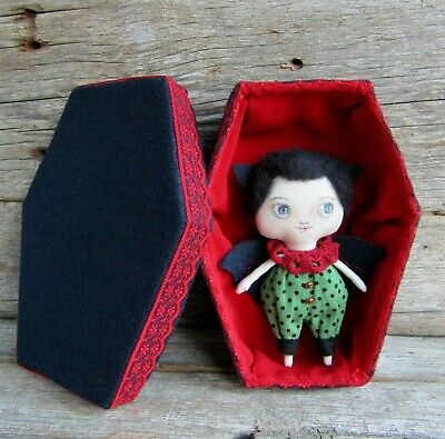 Vampire in coffin Kawaii bat plush art rag doll handmade Gothic home decor toy - Gothic Rag Dolls