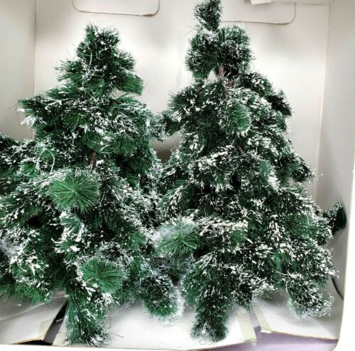 """Department 56 Village Accessories Green Spruce Trees 15"""" & 13"""" Set of 2 #52637"""
