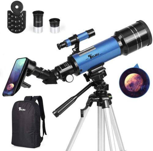 TELMU Telescope 70mm Aperture 400mm AZ Mount Astronomical Refracting Telescope