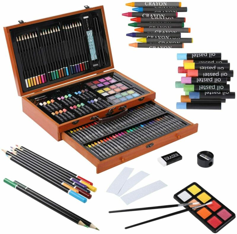 142pcs Art Set Artist Draw Kit Color Pencil Crayon Oil Pastel Paint Brush w/ Box